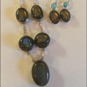 Jewelry - Labradorite Necklace &Lab/Blue Topaz Ear